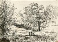 souvenir du lac majeur cliché-verre by jean-baptiste-camille corot