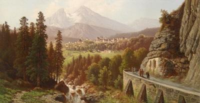 blick auf berchtesgaden, im vordergrund wanderer by theodor (wilhelm t.) nocken
