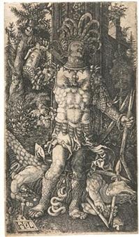 der heilige georg mit dem drachen zu seinen füßen by hans leinberger