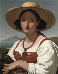 portrait of a neapolitan girl, with the vesuvius in the distance by jan adam janszoon kruseman
