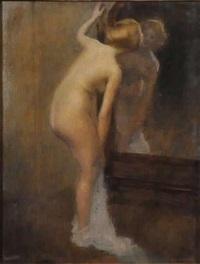 nu féminin au miroir by louis picard