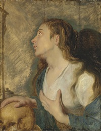 the penitent magdalen by antwerp school