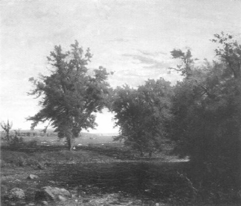 summer landscape with cattle by a stream by richard william hubbard