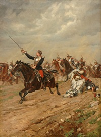 the charge of cuirassiers by paul léon jazet