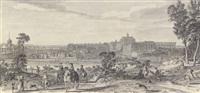 vue du château et d'une partie de la ville de versailles prise du côté de l'étang de clagny by jacques rigaud