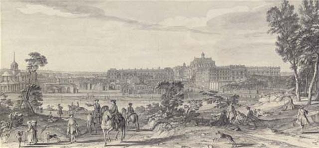 vue du château et dune partie de la ville de versailles prise du côté de létang de clagny by jacques rigaud