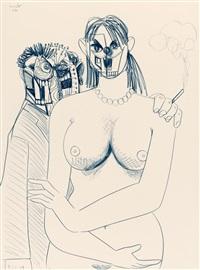 rodrigo smoking with his girlfriend by george condo
