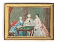 three ladies at a gaming table by louis nicolas van blarenberghe