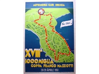 a 1951 mille miglia large and rare event poster with course map by anonymous (20)
