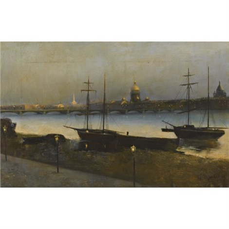 saint petersburg at night by nikolai nikanorovich dubovskoy