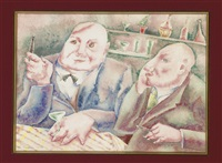 men in a bar (+ another; 2 works) by george biddle