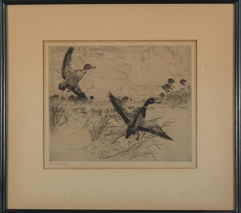mallards, no. 2; the alarm (2 works) by frank weston benson