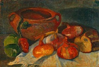 nature morte: pot, oignons, pain et pommes vertes by jacob glaudianna de haan