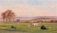 vaches dans un paturâge by henri arthur bonnefoy