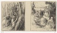 bûcheronnes et groupe de paysannes (2 works) by camille pissarro