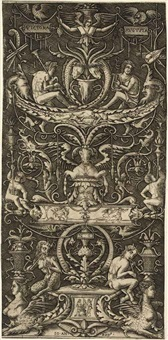 an ornamental panel with figures (after nicoletto da modena) by giovanni antonio da brescia