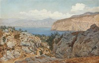 rocky coast, presumably from capri or sorrento by janus andreas barthotin la cour