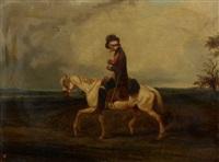 cavalier sur sa monture blanche by eugène modeste edmond le poitevin