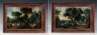 paire de paysages forestiers animés de personnages (2 works) by lucas achtschellinck