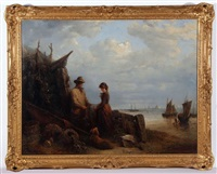 coastal scene with fisherfolk and dog by edward robert smythe