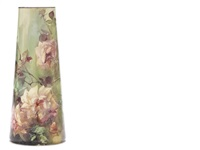 tapered cylindrical vase with pink flushed yellow roses by franz arthur bischoff