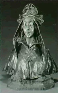 bust of a cloaked maiden by henry jacobs