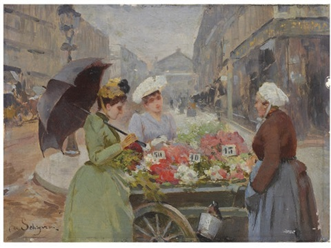 the flower market at the madeleine by louis marie de schryver