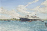 """r.m.s. queen elizabeth 2"" launch day anchored off greenock on the river clyde (+ another; 2 works) by j. c. burnie"