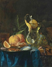 a façon-de-venise wine glass, oysters, crabs and shrimp on a silver platter, and oranges and grapes, on a partly draped wooden table by pieter de ring