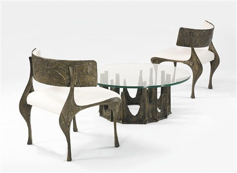 Attractive Pair Of Sculpted Bronze Chairs By Paul Evans