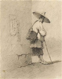 a chinese hawker at a street corner by george chinnery