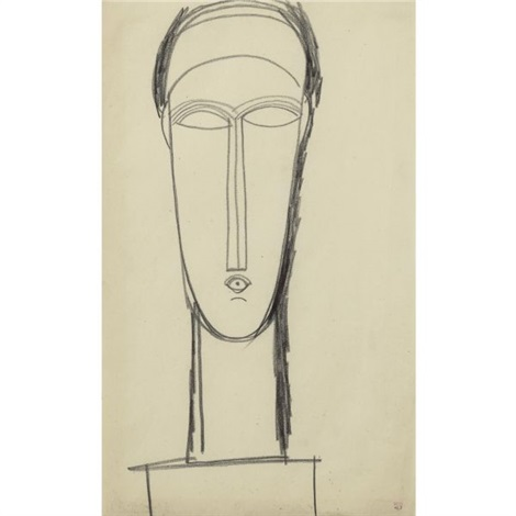 tête de face posée sur un socle by amedeo modigliani