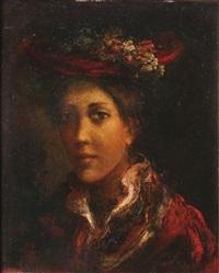 femme au chapeau à fleurs by guy cambier