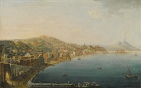 naples, a view of the riviera di chiaia from the convento di sant antonio, with vesuvius smoking in the distance by pietro antoniani