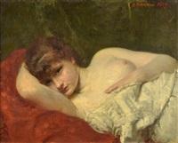 retrato de mujer recostada by gregoire lehmann