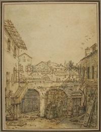 intérieur de cour animé by bernardo bellotto