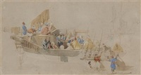 study of arabs on board a ship (+ 3 others; 4 works) by thomas allom