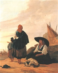 fisherfolk on a beach by thomas jose annunciacao