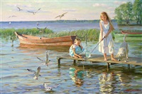 two girls fishing on a wooden pier by aleksandr averin