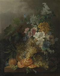 a still life with flowers, peaches, grapes and a peeled orange, all resting on a table by jan van der waarden
