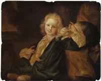 jeune garçon et son chat by gilles allou