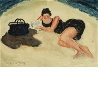 sally on the beach by milton avery