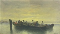fishermen in their boats by a. vescovi