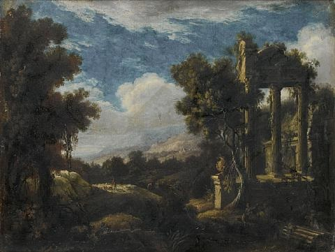 a wooded landscape with figures before ruins by pierre antoine patel