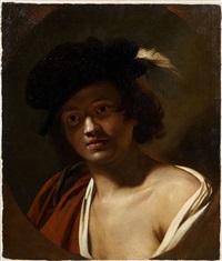 jeune pâtre en buste dans un ovale feint by nicolas regnier