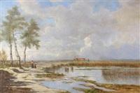 promenade et labour au bord de l'étang by hector louis allemand