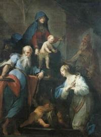 madonna col bambino e i santi paolo, caterina d'alessandria e silvestro by francesco conti