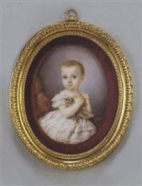 portrait d'une petite fille en robe de dentelle blanche tenant une colombe by héloïse suzanne colin leloir