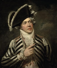 portrait of a gentleman (john fawcett as friponi ?) in a black and white coat and black hat by george clint