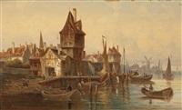 holländische hafenpromenade by ludwig van hoom